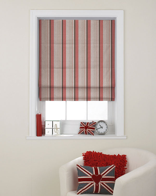 Luberon Rayure Multico Rouge Roman Blinds