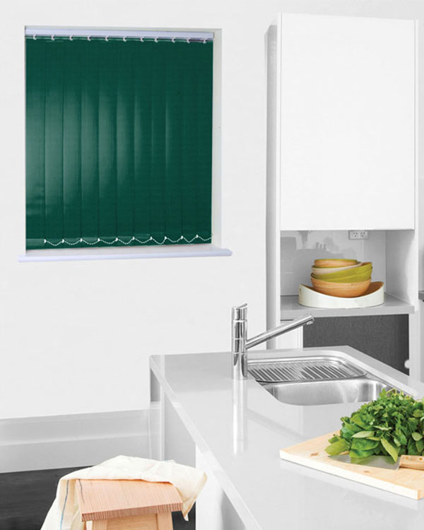 Wipeable Green Vertical Blinds