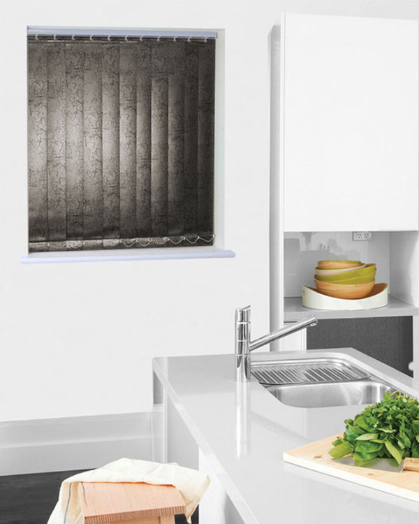 Wipeable Marble Black Vertical Blinds