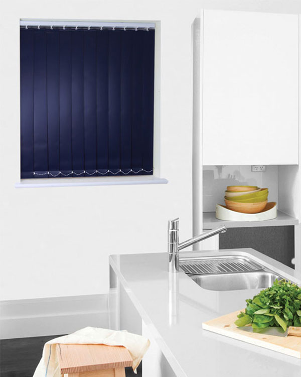 Wipeable Navy Blue Vertical Blinds