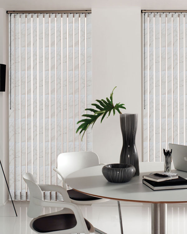 Wipeable Picasso White Vertical Blinds