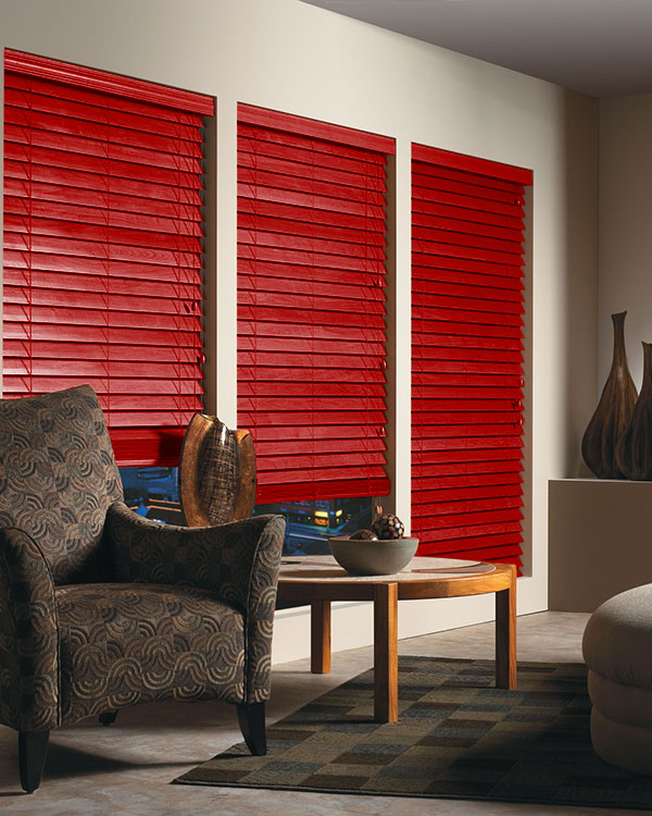 Red Wooden Blinds